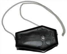 Coffin+Black+Leather+Purse