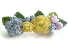 Pastel Colored Roses French Barrette/ Yellow Blue Purple Rose/ Crochet Flower…