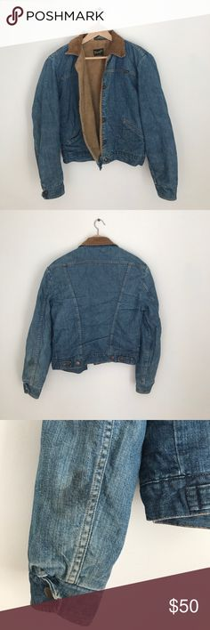 "Vintage Wrangler Lined Denim Jacket Great vintage denim western jacket. Small men's. Vintage condition- photoed are two stains and some mended areas inside the arm lining. Faux Sherpa lining. Arm length 24"". Jacket length 23"". Shoulder to shoulder 18"". Chest length 21"". Wrangler Jackets & Coats Jean Jackets"