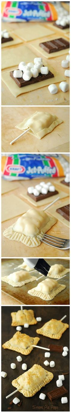 S'more Pie Pops Recipe.  SO COOL. I'd adapt this with frozen puff pastry and very dark chocolate.