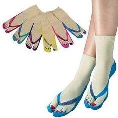 I love these! Flip Flop Socks!