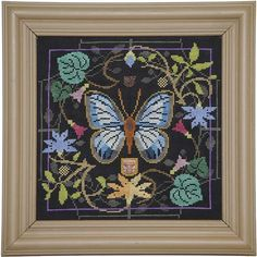NEW Lg. Green Banded Blue Butterfly in Bloom No. 102 cross stitch patterns INCLUDES embellishment by Tellin Elmblem at thecottageneedle.com by thecottageneedle