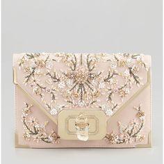 Marchesa Valentina Floral Beaded Envelope Clutch Bag featuring polyvore, women's fashion, bags, handbags, clutches, purses, bolsas, pink multi, envelope clutch, leather purses, handbags purses, pink envelope clutch and pink clutches