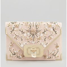 Marchesa Valentina Floral Beaded Envelope Clutch Bag ($3,495) ❤ liked on Polyvore featuring bags, handbags, clutches, purses, bolsas, pink multi, leather purses, pink purse, pink envelope clutch and pink clutches