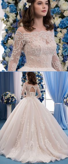 Delicate Tulle & Organza Off-the-shoulder Neckline Ball Gown Wedding Dress With Lace Appliques & Beadings