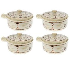 Temp-tations Old World Set of 4 15oz. Covered Crock Bowls