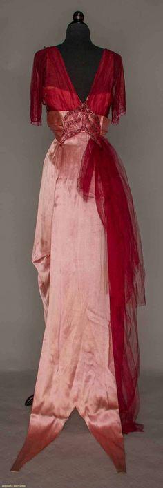 Ephemeral Elegance — Beaded Satin and Chiffon Evening Dress, ca. 1912...