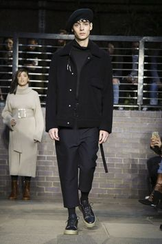 Anyone in the market for a great jacket should look no further than Maison Mihara Yasuhiro – these were standout, be they leather and heavy or dressing-gown-style and draped. Luxe and lovely. Live Fashion, Fashion Show, Winter 2017, Fall Winter, Runway Fashion, Mens Fashion, Men's Collection, Fashion Brands, Cool Outfits