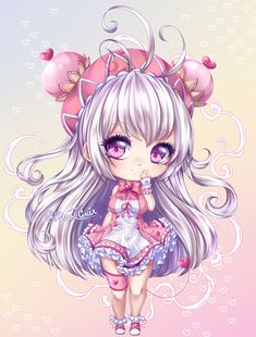 Detailed Chibi Commission for for her friend ! I had a lot of fun working with all the pink Thank you for commissioning me! C: Rinrin Anime Girl Neko, Cute Anime Chibi, Chibi Girl, Kawaii Chibi, Kawaii Art, Kawaii Anime, Cute Disney Pictures, Cute Cartoon Pictures, Cute Kawaii Drawings