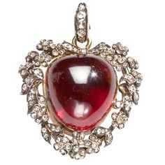 Ode to the Heart: Victorian Diamond & Garnet Locket, circa 1870, English,15kt.gold & Sterling Sliver