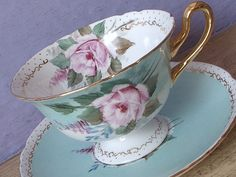 RARE Vintage 1940's Shelley ARTIST SIGNED teacup and saucer, Gainsborough shape, pink rose teacup, English bone china teacup, Blue tea cup