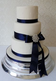 Ashley's Wedding Blue Ribbon with Flower instead of  pin