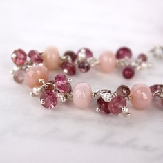 Pink Peruvian Opal Tourmaline and Pearl Bracelet in by mommyto4, $239.99