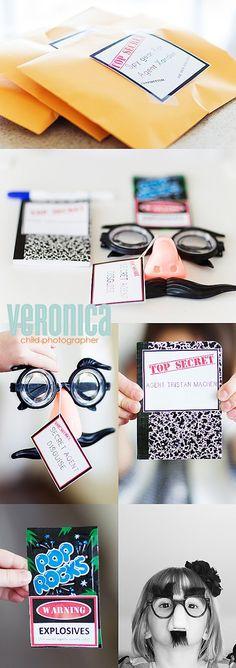 Secret Agent Crafts | secret agent goody bag ideas: glasses, sunglasses, notebook, poprocks ...