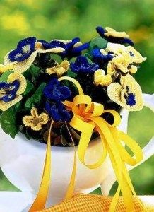 Crocheted Pansies by Lydia Gonchar