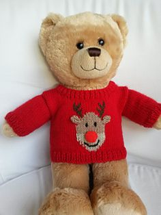 The sweater has set in sleeves and neck fastening for an easy fit with a choice of 4 Christmas motifs. Sleeves can be striped or plain. Knitted Teddy Bear, Crochet Bear, Teddy Bears, Knitting Dolls Clothes, Knitted Dolls, Crocheted Toys, Doll Clothes, Jumper Knitting Pattern, Baby Knitting