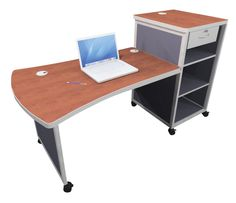 Interior Concepts Traveler Mobile Teacher Desk and Podium, 68 x 36 x 41 Inches, Various Options Teacher Podium, Teacher Desks, Teacher Supplies, School Supplies, Classroom Direct, Educational Supply Store, Interior Concept, Desk Ideas, Working Area