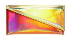 This multicolor sharp hologram leather clutch by Kzeniya is sooo tempting!