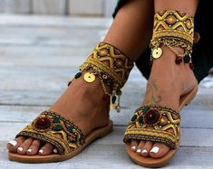 Handmade Greek leather sandals, decorated shoes by DimitrasWorkshop Jackie Brown, Botas Hippy, Estilo Hippie, Decorated Shoes, Designer Shoulder Bags, Bracelet Cuir, Bare Foot Sandals, Custom Shoes, Black Handbags
