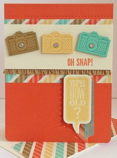 Stampin' Up! Retro Fresh dsp, On Film framelits, Just Sayin, Hip Notes