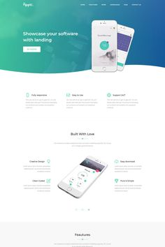 Appic Mobile App Landing Page Template - Landing Pages - Create a landing pages with drag and drop. Easily make your landing page in 3 minutes. - Appic Mobile App Landing Page Template Web Design Mobile, Web Ui Design, Flat Design, Template Web, Website Template, Templates, Landing Page Examples, Landing Page Design, Landing Page Inspiration