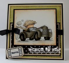 handmade card ...Toot Toot by Pops  ... adorable little guy in a roadster ...