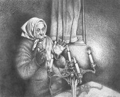 Religious Scenes from the Warsaw Ghetto Hebrew Quotes, Shabbat Candlesticks, Warsaw Ghetto, Anton Pieck, Eternal Flame, Jewish Art, Judaism, Sketches, Artwork