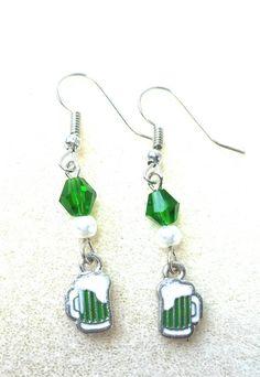 Green Beer Saint Patrick's Day Earrings by CharminglyWhimsical on Etsy