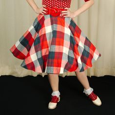 Americana Flannel Circle Skirt:Flannel is oh-so-cozy, so slip into this red, white and blue plaid, 100percent flannel circle skirt! Waist band is 2 inches wide, skirt is approximately 27 inches long and has a back zipper. There is no stretch to the material, so please note the sizing chart. Machine wash or hand wash cold, hang to dry. (Note: Sizing XS=XS, SM=Small, MED=MED,... $82.00