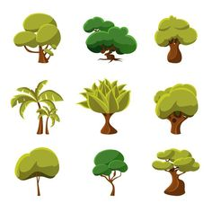 Cartoon Trees Set Vector