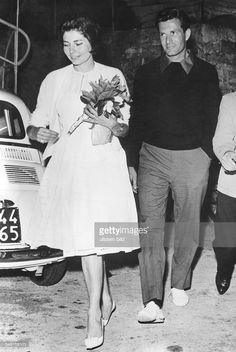 Soraya (Esfandiary Bakhtiary) *-+ Kaiserin von Persien 1951-1958, Iran - in Begleitung des Schauspielers Hugh O'Brien in Portofino - 1961