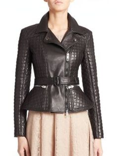 $3,995, Black Quilted Leather Biker Jacket: Burberry London Ledstone Quilted Leather Jacket. Sold by Saks Fifth Avenue. Click for more info: https://lookastic.com/women/shop_items/257811/redirect