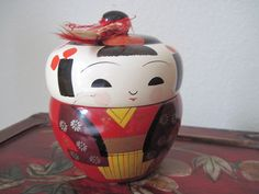 Vintage Lacquer Kokeshi Bento Box by DatedandAntiquated on Etsy