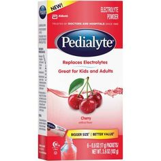 Pedialyte Cherry Electrolyte Powder, 0.6 oz, 6 count, (Pack of 6)