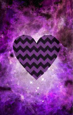 Purple galaxy heart iPhone wallpaper
