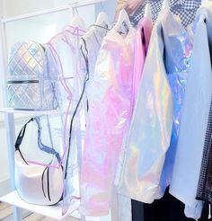 Image shared by Lelie. Find images and videos about clothes, runway and holographic on We Heart It - the app to get lost in what you love. Pastel Fashion, Kawaii Fashion, Outfits For Teens, Cool Outfits, Holographic Fashion, Mode Lolita, Mode Kawaii, New Look Fashion, Unicorn Outfit