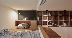 色合い台北のアパートのメザニンレベルのベッドルーム、ワークデスク