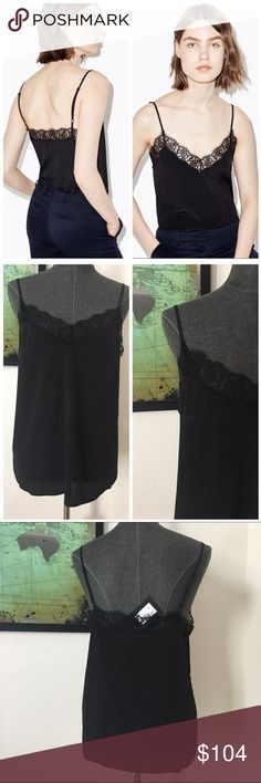 """The Kooples Silk and Lace Camisole d e s c r i p t i o n  Designed to feel luxurious against your skin, this seductive black camisole by The Kooples is made from diaphanous silk and accented with gossamer eyelash lace at the neckline. Very very minor mark (will come out with dry cleaning), as pictured. New with tags. NO TRADES.   c o n t e n t  100% silk     m e a s u r e m e n t s ✂️  size + m   bust + 18""""   length + 16.5""""    p a i r e  w i t h   + theory blazer  bundle for a discount The…"""