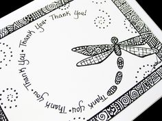 Items similar to Dragonfly Thank You card card - Blank inside - Black and white pen and ink art - very Unique - Beautiful spiral design on Etsy. , via Etsy.