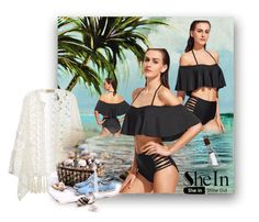 """""""Shein Black Bikini Contest"""" by rainheartcreations ❤ liked on Polyvore featuring Universal Lighting and Decor, ADRIANA DEGREAS and Bastien"""