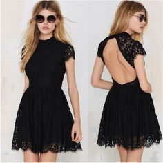 >> Click to Buy << vestido de festa Womans Fashion 2017 Summer Backless Black Party Lace Dress High Quality Short Sleeve Slim Casual Dresses #Affiliate