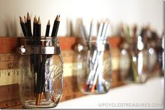 Yardstick Mason Jar Organizer - Mason Jar Crafts Love