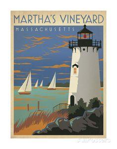 Martha's Vineyard, Massachusetts (Lighthouse) Poster von Anderson Design Group bei AllPosters.de