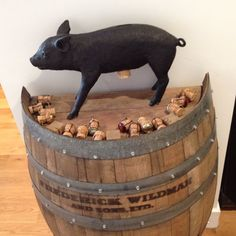 Wine barrel bar with Bank in the Shape of Pig