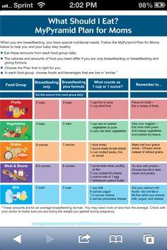 Breastfeeding Food Serving Suggestion Board
