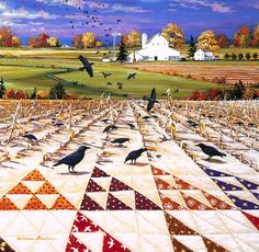 """""""Birds in the Air"""" Quiltscape by Rebecca Barker"""