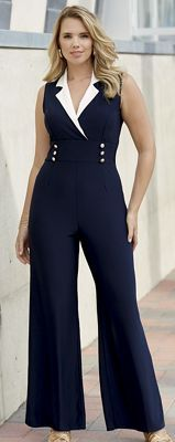 "A ""wow"" addition to any summer wardrobe, this chic jumpsuit offers head-to-toe flattery with a waist-whittling surplice bodice and figure-balancing wide legs."