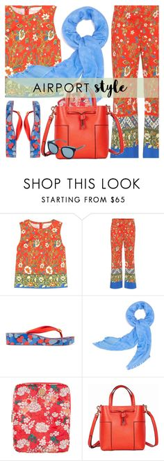 """Airport Style"" by shoaleh-nia ❤ liked on Polyvore featuring Tory Burch"