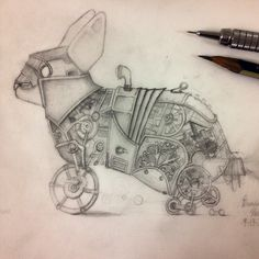 steampunk bunny sketch by Brandon Mikel Paul