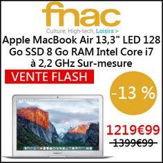 """#missbonreduction; Vente Flash : économisez 13 % sur l'Apple MacBook Air 13,3"""" LED 128 Go SSD 8 Go RAM Intel Core i7 à 2,2 GHz Sur-mesure chez FNAC.http://www.miss-bon-reduction.fr//details-bon-reduction-FNAC-i329-c1829977.html"""